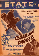 Cloak And Dagger Original State Theater Flyer Movie Herald From The 1946 Movie