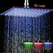 10'' Stainless Steel Led Shower Head Wall/ceiling Mount Rain Square Top Sprayer