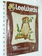 Vintage 70's Crewel Leewards Exclusive Wise Old Owl Pillow 16 X 16 New Sealed