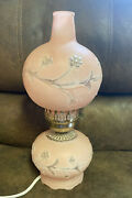 Vtg Hurricane Glass Gone The Wind Light Parlor Lamp Double Globe Pink Frosted 15