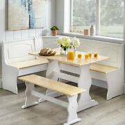 Country Style White And Natural Finish Wood Corner Nook Dining Table Bench Set