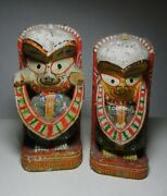 Pair Of India Antique Wooden Fabric Wrapped And Hand Painted Demon God Figurines