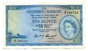 Mauritius British Administration Government 5 Rupees 1954 Vf Pick 27