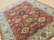 8andrsquo.0andrdquo X 9andrsquo.8andrdquo Rust Beige Fine Geometric All-over Hand Knotted Oriental Rug Wool