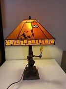 Disney Goofy Stained Glass Lamp 65th Anniversary Ed Complete Gold Torch Works Lb