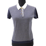 42 Cc Button Striped Short Sleeve Knit Tops White Navy Authentic Y04355