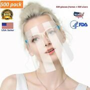 ✅ 500 Pack Face Shield Guard Mask Safety Protection With Glasses Reusable Shield