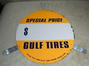 Vintage 1950and039s/60and039s Gulf Gas And Oil Tires Special Price Tin Metal Round Tab Sign