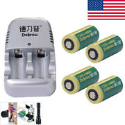 4pcs 800mah Cr2 Rechargeable 3v Lithium Battery With 1pc Charger For Flashlight