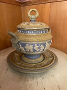 Antique Mettlach Soup Tureen Punch Bowl Blue And White Cameo Relief - Circa 1897