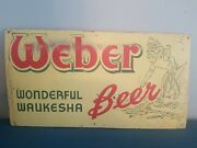 Vtg 1950s Weber Beer Indian And Water Back Bar Advertising Sign Waukesha Wi