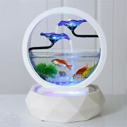 Desktop Water Fountain Small Fish Tank Creativity Home Deco Table Top Round Whit
