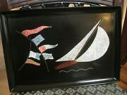 Rare Vintage Couroc Of Monterey Sailboat/flags Serving/drink Tray Large,15 1/2