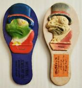 2 Antique 1920s Advertising Halloween Noise Maker Clapper German Frog Face Pa Ny