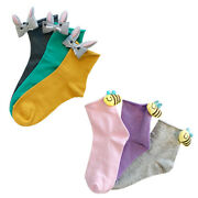 2 Pairs Cute Animal Character 3d Women Cotton Socks High Quality One Size
