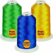 Polyester Large Bobbin Fill Thread 5500 Yard 3 Spools Embroidery Sewing Machines