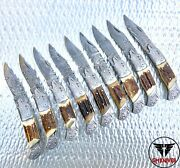 Wholesale Lot Of 9 Pocket Folding Knives Stag Horn Handle With Leather Case