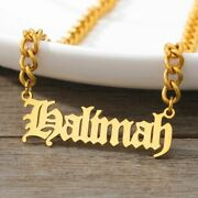 Women Necklace Custom Gothic Old English Nameplate Stainless Steel Chain Choker