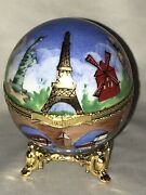 Limoges France Peint Main Atelier Blue Round Music Trinket Box Playing Love Song