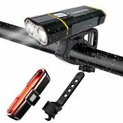 Usb Rechargeable Bicycle Light Front And Back Set, 2000 Lumens Led Lamp Bike
