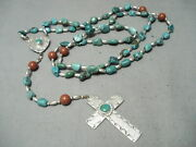 One Of The Best Vintage Navajo Turquoise Sterling Silver Rosary Necklace