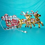 Lighted Holographic Santa Sleigh Reindeer Outdoor 4ft Vintage Christmas Sign