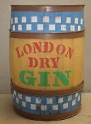 Full Size Nail Keg Tole Painted London Dry Gin Table Stand Collectible Farmhouse