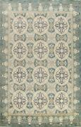 Geometric Transitional Oushak-chobi Area Rug Vegetable Dye Hand-knotted 9and039x12and039