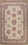Ivory Super Kazak Vegetable Dye Oriental Area Rug Hand-knotted Geometric 9and039x12and039