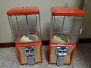 2 Vintage Northwestern Gumball Candy Vending Coin Machine Red W/ Key Morris Il