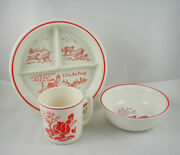 Anchor Hocking Glass Co Little Bo Peep Childand039s Divided Plate Bowl And Mug