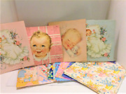Vintage Lot Flat Gift Wrapping Paper Baby - 17 Full Sheets Unused Plus Extra Pcs