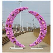 Wedding Backdrop Stand Iron Crescent Arch Road Flowers Moon Door Decoration