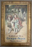 Antique Original Grape Nuts Tin Lithograph From 1912