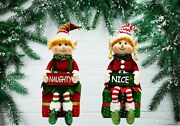 Christmas Elf Couple Naughty And Nice Present Sitters 15 Inches Tall Decor