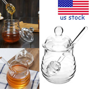 250ml Glass Honey Jar Candy Honey Pot Set Jam Jar With Dipper And Lid For Kitchen