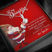 Santa Merry Christmas Gift For Daughter From Dad Necklace To My Daughter Xmas
