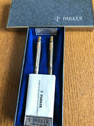Parker 75 Classic Set Sterling Silver Ballpoint Pen And 0.9mm Pencil New In Box