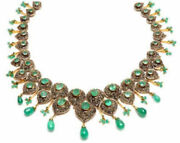 925 Sterling Silver Rose Cut Diamond Necklace Emerald Victorian Look Jewelry