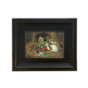 Rabbits Meal Framed Oil Painting Print On Canvas In Distressed Black Wood Frame