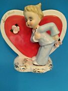 Vintage Napco Valentine's Day Heart Sweet Heart Boy Planter S719a - As Is