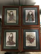 Home Interiors Christmas Santa Claus Homco 4 Vintage Framed Pictures 11x9 Read