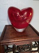 """Vintage Murano Glass Red Heart Vase Hand Blown Heavy Valentines Day Gift 6"""" Tall"""