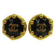 Vintage Cc Logos Button Earrings Gold Black Clip-on 94p A44037i