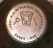 Reed City Mi Backside Masonic Penny Stamping Die Constituted Jan 16 1884 Lilley