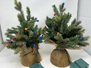 Set Of 2 Vintage 18 Artificial Lighted Christmas Trees In Burlap Sack