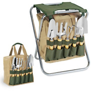 Oniva - A Picnic Time Brand Gardener 5-piece Garden Tool Set With Tote And Seat