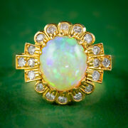 Vintage Opal Diamond Cluster Ring 18ct Gold 2.50ct Natural Opal