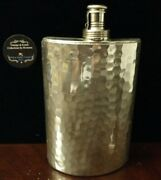 Antique In-line Pounded Silver Screw Lid 10 Oz. Liquor Flask Made In Germany 7h