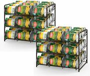 2 Stackable Can Storage Dispenser Kitchen Cabinet Shelf Holds Up To 72 Cans